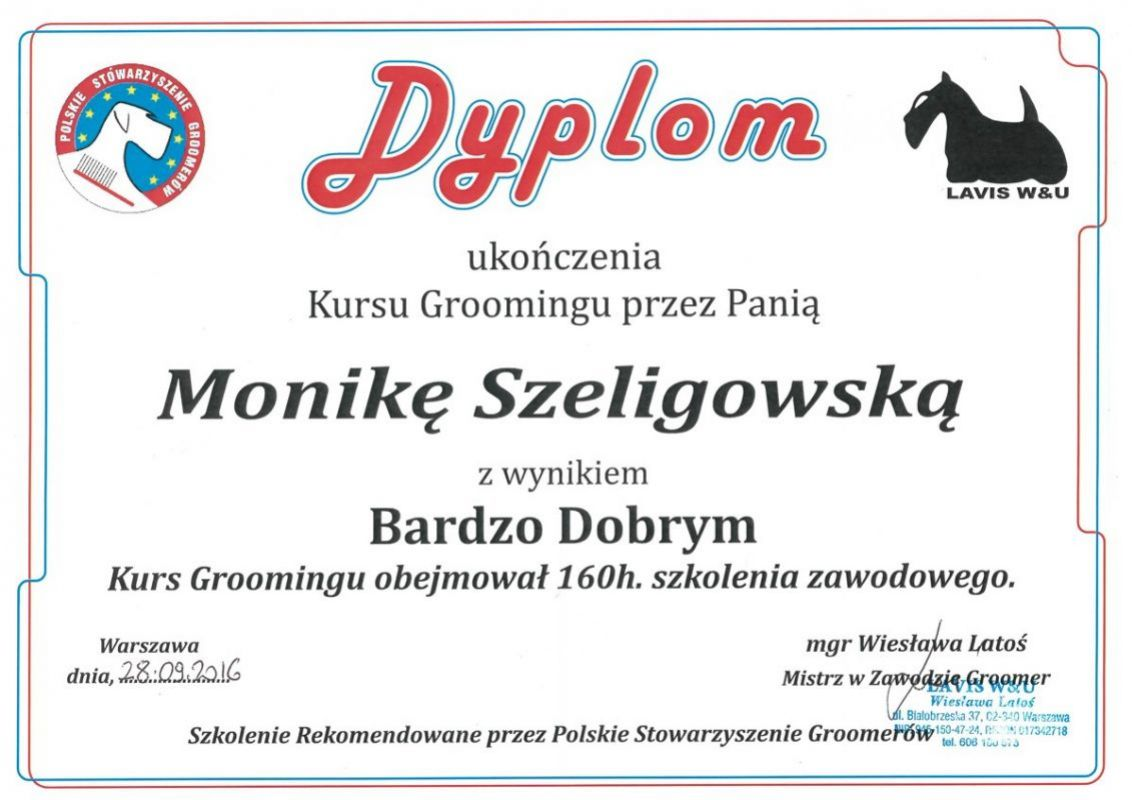 Dyplom ukończenia Kursu Groomingu przez Panią Monikę Szeligowską
